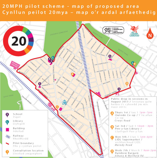 Map of 20mph speed limit scheme