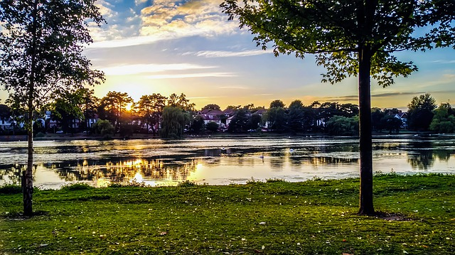 Photo of Roath Park Lake at sunset