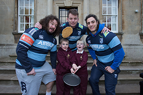 Cardiff Blues at the school's'Pancake Flipping Contest'