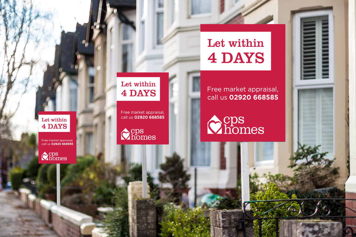 CPS Homes Let within 4 days boards outside houses