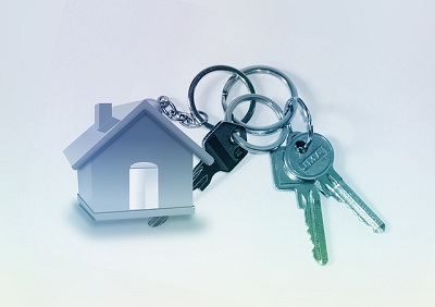 Keys on a house shaped keyring