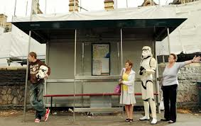 Cardiff bus stop with Stormtrooper waiting